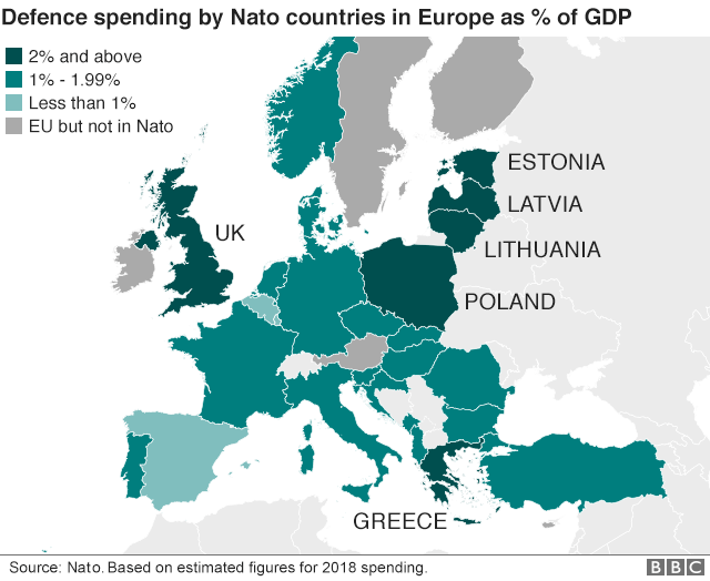 Map of Nato spending by country