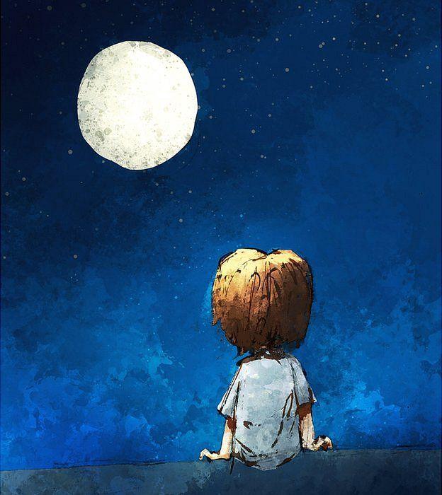 Niño mirando la Luna