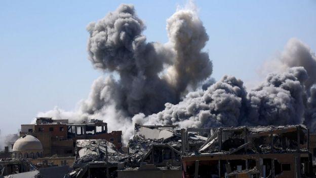 Explosion smoke in Raqa.