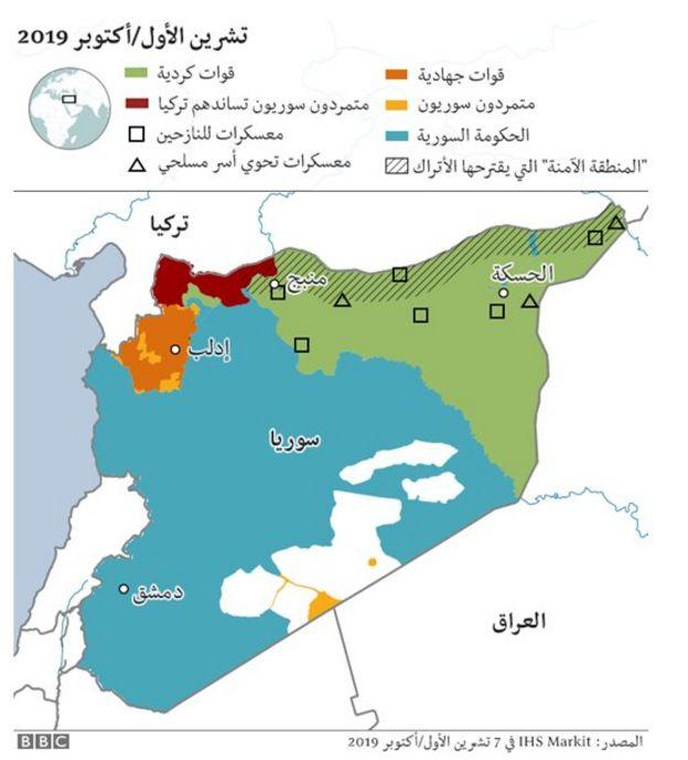 خريطة مناطق تسيطر عليها قوات مختلفة في سوريا
