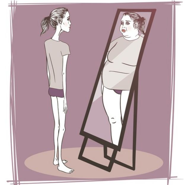 Ilustración de una mujer delgada mirándose al espejo y viéndose gorda