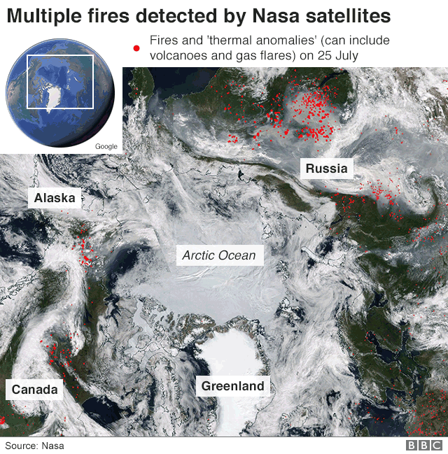 A map showing the extent of the fire and smoke