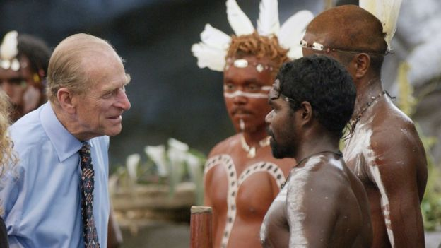 Prince Philip speaking to Aborigine performers in 2002