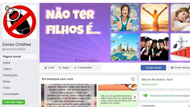 Página de grupo childfree no Facebook