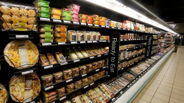 Ready-to-eat meals are displayed at an outlet of retailer Shoprite Checkers in Cape Town, South Africa, in June 2017.