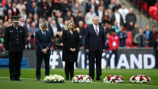 Acting Commissioner Craig Mackey, London mayor Sadiq Khan, culture secretary Karen Bradley and FA chairman Greg Clarke