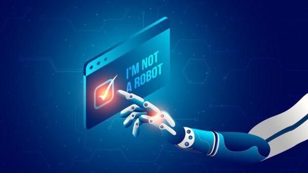 """Ilustración de un dedo de robot pulsando un letrero que dice """"no soy un robot"""""""