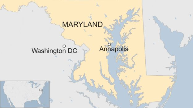 Map shows the Annapolis area where a shooting took place at the offices of the Capital Gazette