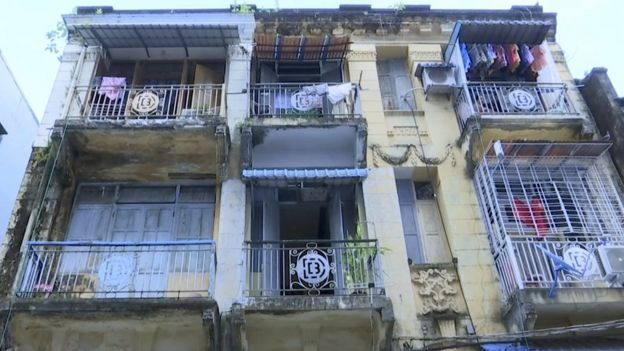 Outside of the apartment building in Yangon where Harris Binotti lived