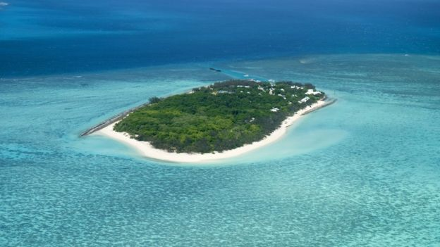 A small island with sandy beaches and trees, surrounded by a coral reef