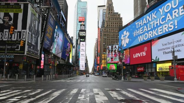 New York City Times Square is empty amid coronavirus fears
