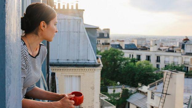 Woman on a balcony