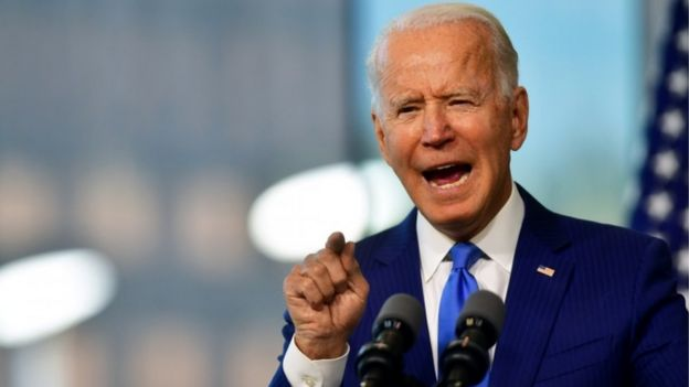 Democratic presidential nominee and former Vice-President Joe Biden delivers remarks regarding the Supreme Court at the National Constitution Center in Philadelphia, Pennsylvania, US, 20 September 2020