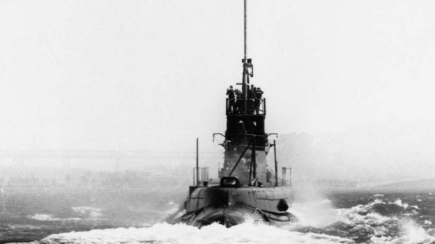 An original photo of the submarine at sea