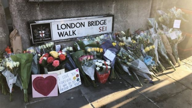 Floral tributes near the scene of the attack in London Bridge