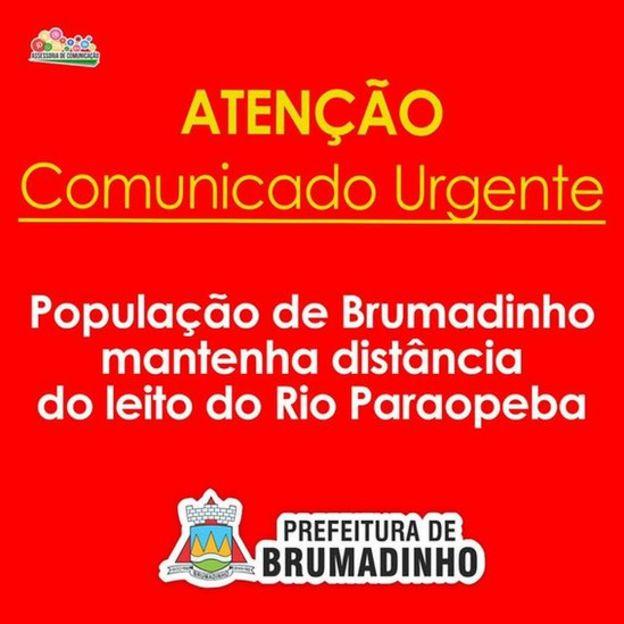 Mensagem de alerta publicada pela Prefeitura de Brumadinho no Facebook