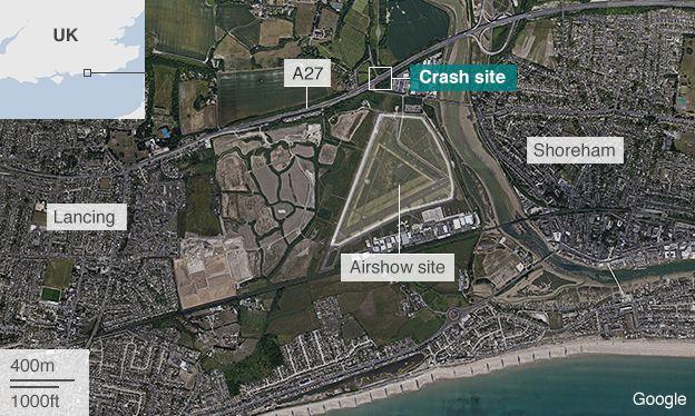 Satellite image showing the location of the air crash near Shoreham