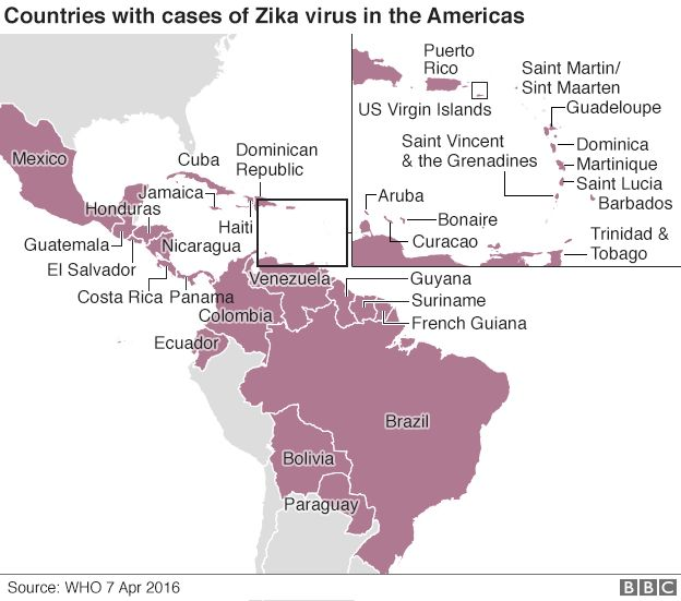 Zika virus scarier than thought says us bbc news map showing the countries that have had confirmed cases of the zika virus gumiabroncs Images