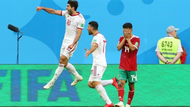 Iran celebra la victoria frente a Marruecos.