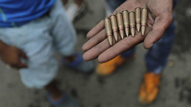 Balas usadas por la policía nicaragüense durante la represión de las protestas.
