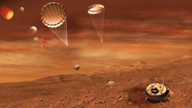 Ilustração artística do pouso da sonda Huygens