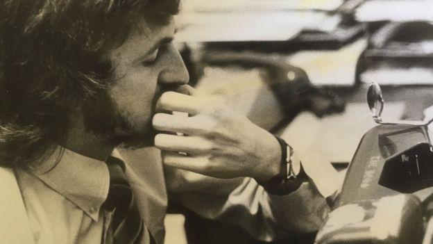 Gareth Hughes at a typewriter