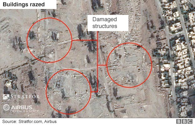 Satellite image of Mosul airport showing building damage