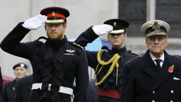 Prince Harry and Prince Philip at Westminster Abbey Field of Remembrance