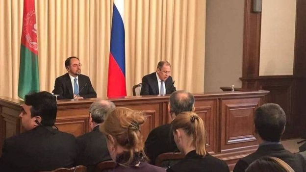 سرگی لاوروف، وزیر خارجه روسیه در نشست خبری مشترک با صلاحالدین ربانی، وزیر خارجه افغانستان