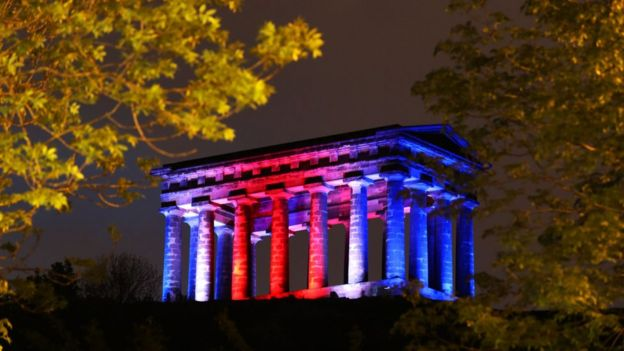 Penshaw Monument in Sunderland illuminated in the colours of the Union Jack