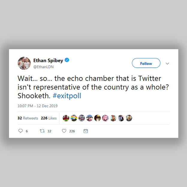 "Tweet from Ethan Spibey: ""Wait so the echo chamber that is Twitter isn't representative of the country as a whole? Shooketh #exitpoll"""