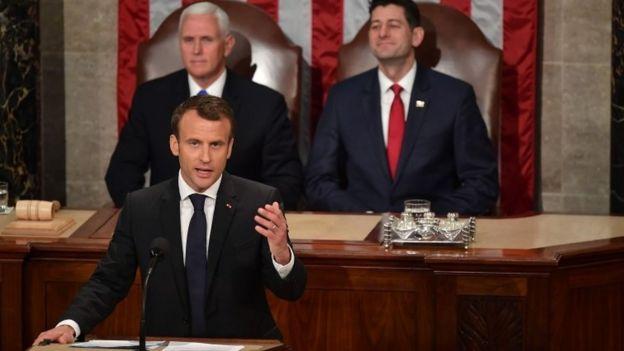 El discurso antinacionalista del presidente francés, Macron, en el Congreso de EEUU