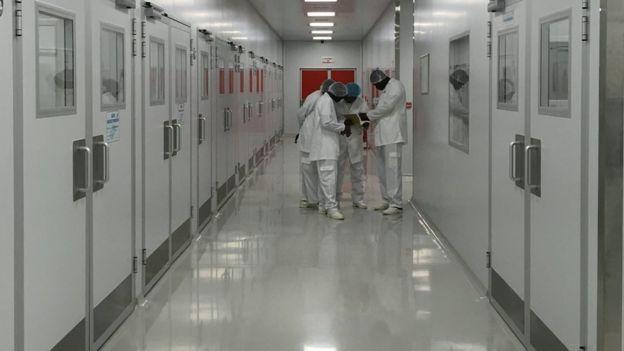 Interior da SMM, um corredor branco e muito limpo, com portas duplas dos dois lados. Ao final, quatro moçambicanos olham um livro.