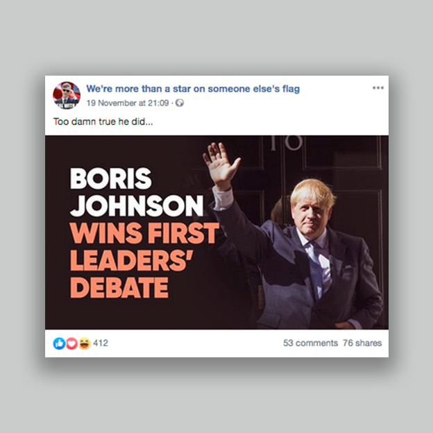 "A post claiming Boris Johnson ""wins first leaders' debate"""