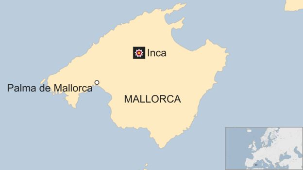 A map shows Inca in relation to local capital Palma on the island of Mallorca, Spain