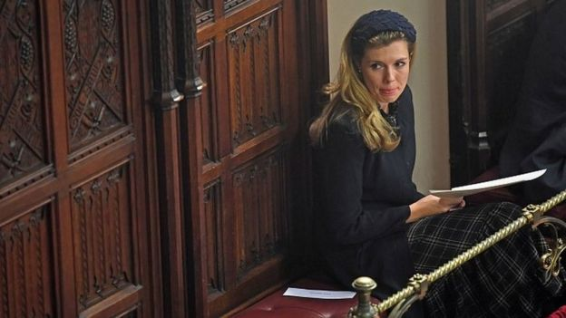 Carrie Symonds, Boris Johnson's partner, in her place in the Palace of Westminster