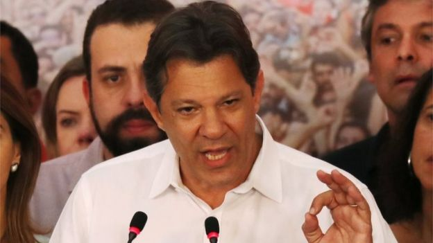 Fernando Haddad speaks during a news conference in Sao Paulo