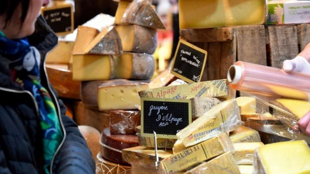 Market with cheeses.