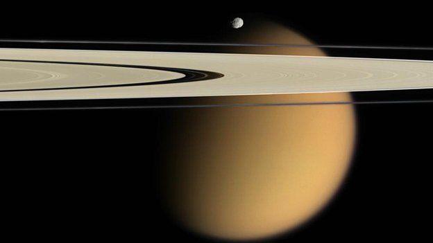Titan, Saturn's rings and Epimetheus Nasa/JPL/Space Science Institute