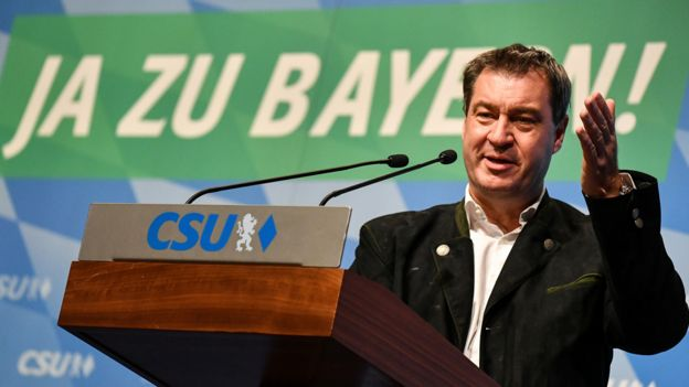 Markus Söder at Munich rally, 11 Oct 18