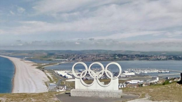 Olympic Rings Sculpture Overlooking Portland Harbour