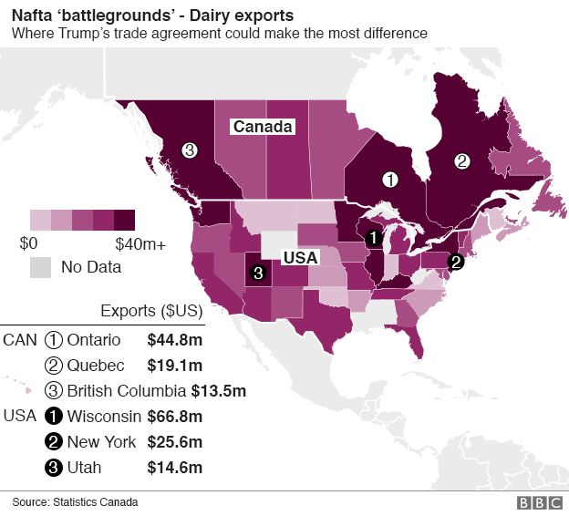 Map Of Us Canada Dairy Exports
