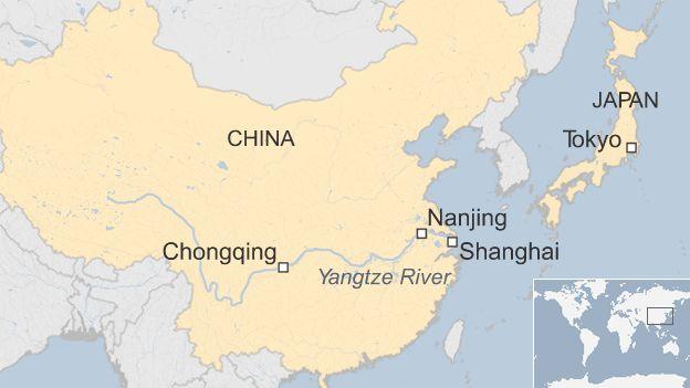 Map showing Nanjing, Shanghai and Chongqing