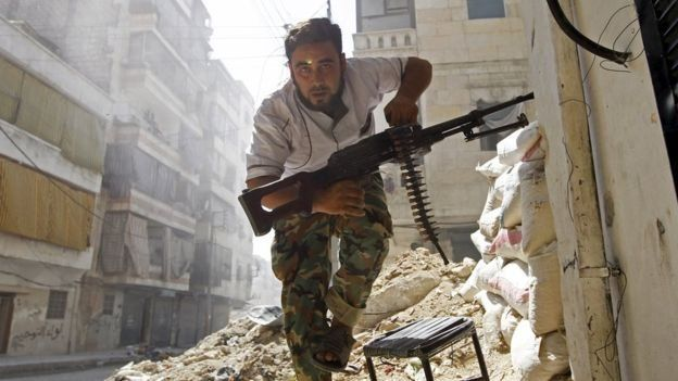 A rebel fighting in Syria