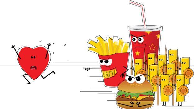 Dibujo de comida chatarra atacando a un corazón.