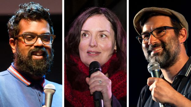 podcasters: Romesh Ranganathan, Deborah Frances-White and Adam Buxton