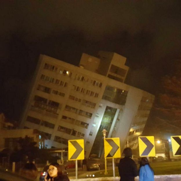 A collapsed building in Hualien Photo: Kulas