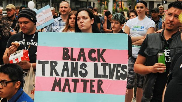 A rally by the transgender community