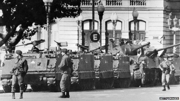 Tanks on the streets of Buenos Aires after the 1976 coup