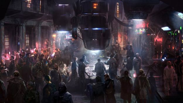 Concept art for Guardians of the Galaxy showing the Boot of Jemiah, a bar on the space colony of Exitar
